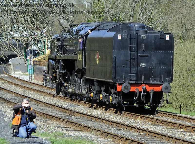 Martin Lawrence demonstrates how to take one of his high quality photographs at Kingscote.  06.04.2012  4265.  Err, the engine is behind you, Martin.