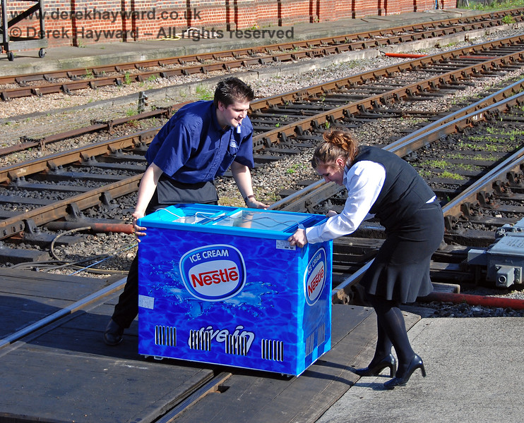 Have you ever tried to move an ice cream container with small wheels over the gaps in the crossing at Sheffield Park?  It isn't easy!  01.05.2008