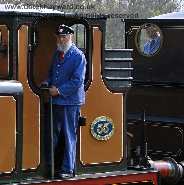 A crew member on board Stepney, with a colleague on Fenchurch watching through the glass.  Kingscote 14.04.2007