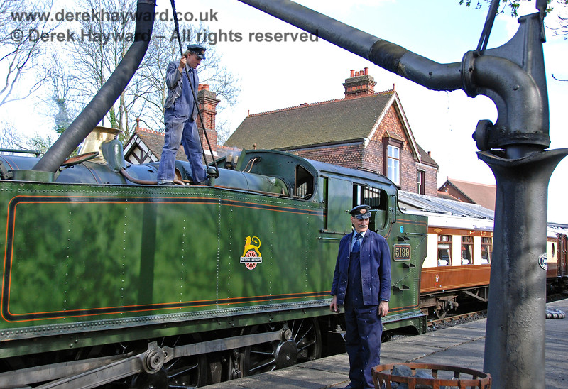 "Visiting engine 5199 takes water on it's first official day of service on the Bluebell Railway whilst crewed by ""Team Groome"".  01.05.2008"