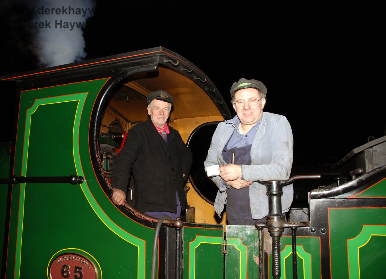 The smiling crew aboard 65 after dark at Horsted Keynes.  21.01.2007