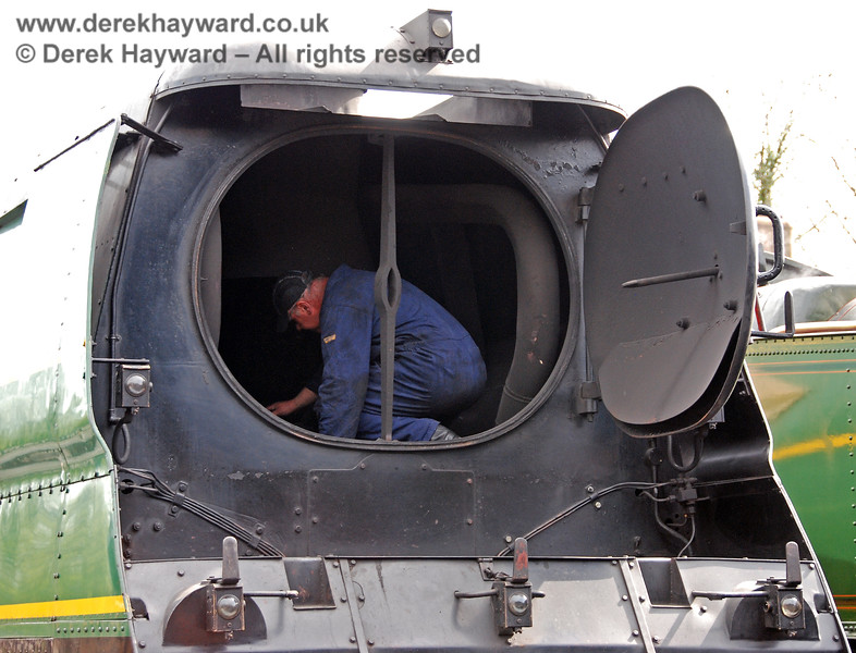 Cleaning the smokebox of 21C123.  Sheffield Park shed 03.05.2008