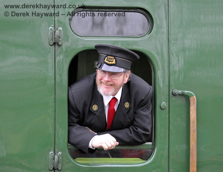 A Guard on a service train near Horsted Keynes.  14.12.2013  8483