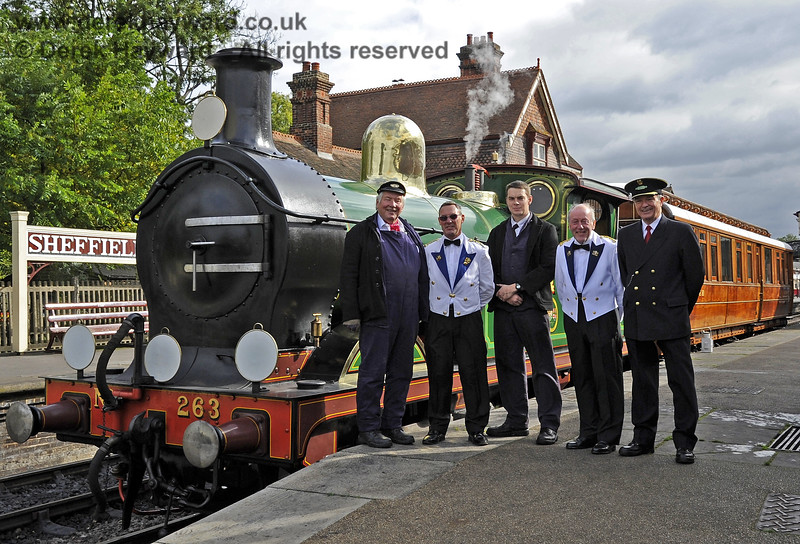 The crew of a Royal Train formed of 263 and the GN Directors Saloon and used to convey the Duke of Gloucester, KG, GCVO, from Sheffield Park to East Grinstead.  Tom Dobson, Senior Driver; Ben Coughlan, Senior Fireman; Graham Aitken, Senior Train Guard; Trevor Summerfield, Steward; and (acting as Steward) Roger Price, Museum Archivist.  10.10.2013  8204