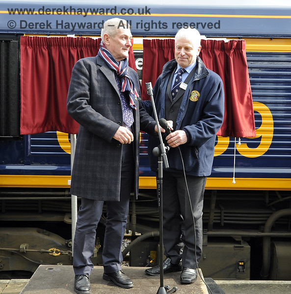 Chris White, Infrastructure Director, and Roy Watts, Chairman BRPS at Horsted Keynes.  28.03.2013  6356