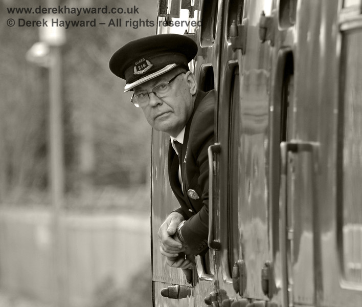 "Graham Todd, known as ""Toddy"", acts as Guard on a departure from East Grinstead.  05.04.2014  8864"