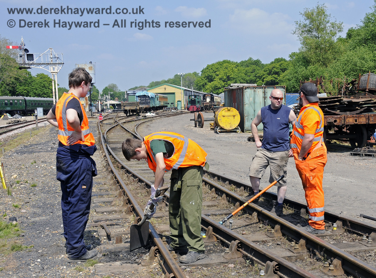 Members of the 9F Club under instruction in the various aspects of PWay work in a blocked section of the Down Yard at Horsted Keynes.  18.05.2014  10539