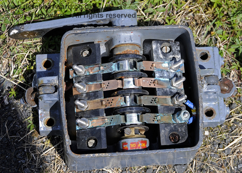 One of the replaced corroded contact boxes that monitor the position of the signals. These boxes will eventually be removed from all signals. Kingscote Advance Starter. 08.06.2014  10637