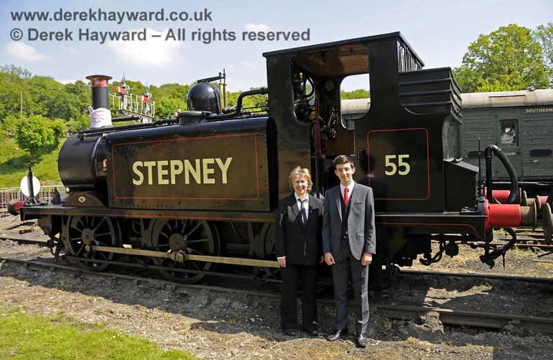 Travelling Ticket Inspectors taking a break with Stepney during the Edwardian Weekend.  Horsted Keynes 18.05.2014  10565
