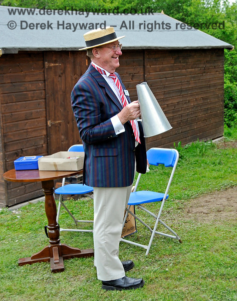 Communication at Horsted Keynes can sometimes be difficult but a megaphone usually does the trick. Gerry Brown in costume.  17.05.2014 10512