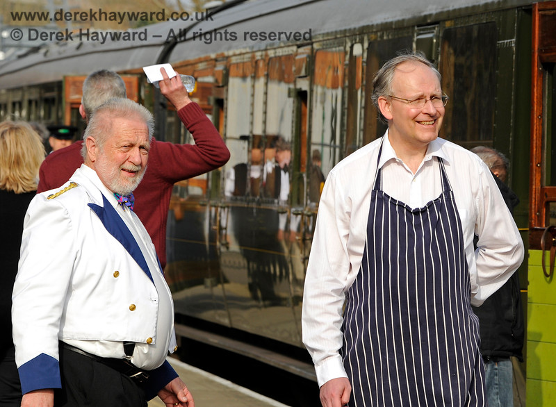 Part of the crew from the GN Saloon at East Grinstead. In accordance with Health and Safety rules Richard Salmon (right) is wearing the appropriate protective clothing.  06.04.2015 10643