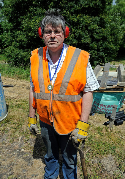 "PWay member David Chappell sporting his 2014 Track Trek  Medal, plus, of course, shovel, gloves and ear defenders.  ""Well done, David."" ""Pardon?"" 29.06.2014 10942"