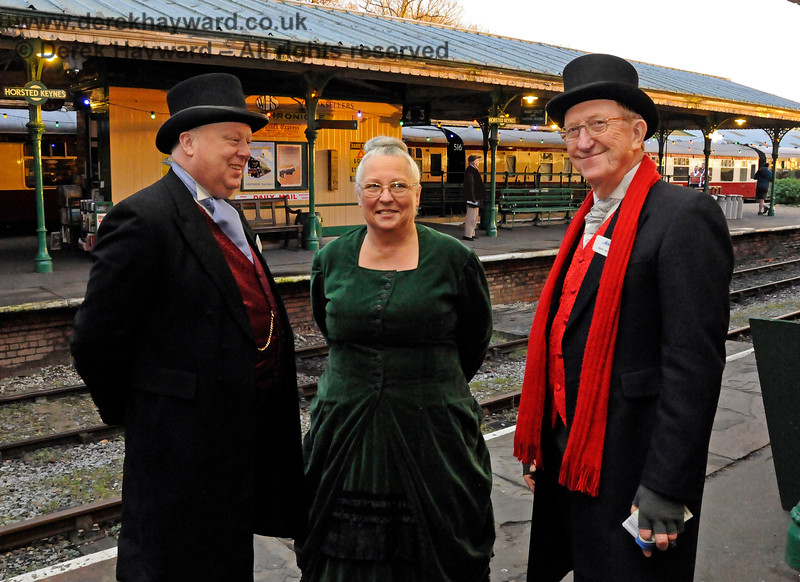Tim, Julia and Gerry during the Santa season at Horsted Keynes.  20.12.2014 11875