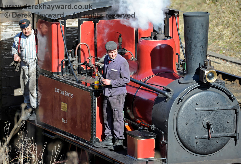 The crew of Captain Baxter, waiting in the Up headshunt at Horsted Keynes. 07.03.2015 10409