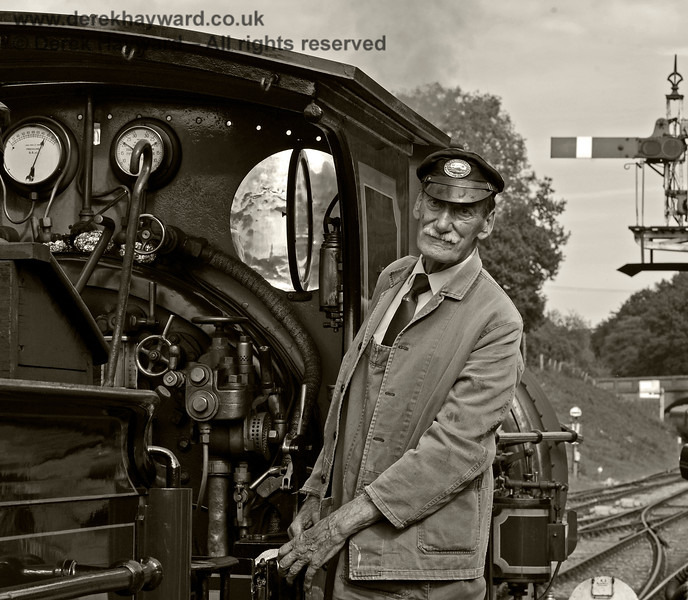 "By request, a black and white version of Clive Groome waiting for the ""off"" at Horsted Keynes. 24.09.2017 16165"