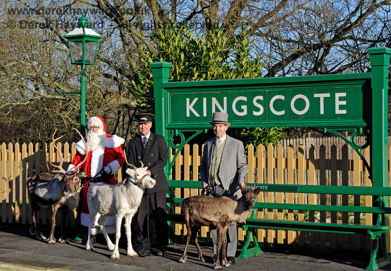 """Fraser and James, could you JUST take the reindeer over to Platform 2 for a photo? ""Oh certainly, what would you like for an encore...""  (Fraser had been rostered without anyone mentioning that he was reindeer herding). As you see, all things are (eventually) possible although setting the shot up was ""interesting"".  Kingscote 13.12.2014 10148 (No animals, humans or Santa were harmed during the arrangements for this picture and the reindeer received several carrots)."