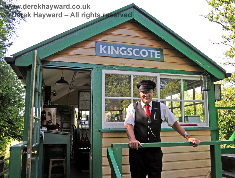 Signalman Mick Ralph pictured just minutes after he had qualified as a signalman in the Kingscote southern box.  I just happened to come along at the right moment. 11.07.2015 13192.    Sorry they subsequently closed the box, Mick.  I am sure it was nothing personal.