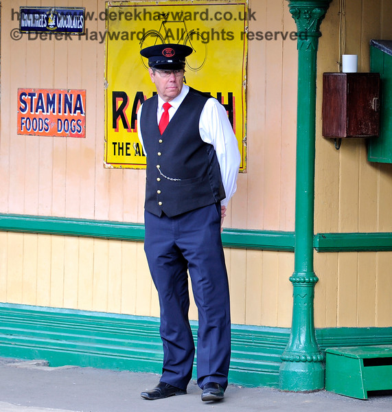A member of the Horsted Keynes station staff looking rather stern. 29.06.2014 9743