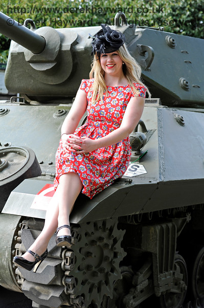Louise at Horsted Keynes (having finally agreed to sit on the tank).   Southern at War 10.05.2015 11260