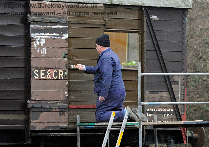 "Painting a van outside in December is certainly not glamorous, but it is one of the ""unsung"" vital tasks.  Horsted Keynes 18.12.2016 14759"