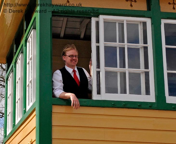 A smiling signalman at Horsted Keynes. 19.04.2015 12328