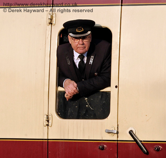 "Graham Todd, known as ""Toddy"", undertaking duties as a Guard on a Wealden Rambler hauled by B473. 14.03.2015 10502"