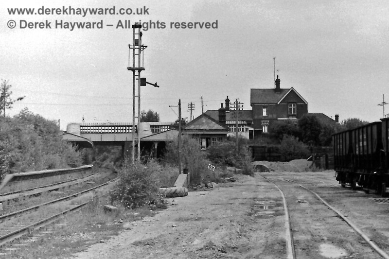 Eric Kemp has also very kindly contributed some historical images.  Taken slightly further west than the image above this is Ardingly Station looking east on 9 August 1970. The signal box has deteriorated and the conductor rail has vanished.  However the photo nicely captures the main station buildings and the footbridge.  Eric Kemp retains all rights to this image.