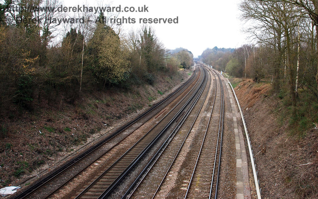 Looking north from Old Wickham Lane bridge, the goods line junction is almost out of sight.