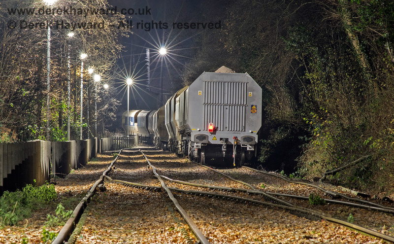 Newly arrived fully loaded wagons standing on the approach to the Ardingly plant.  Each wagon carries 100 tons of material.  Adrian Backshall retains all rights to this image.