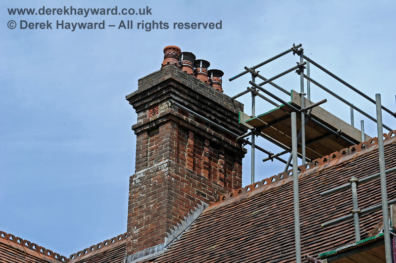 Whilst scaffolding has been in place at Barcombe Station the opportunity has been taken to inspect and repair other parts of the structure. Note the ornate chimney, the finer points of which would be hard to see from the ground.  Victorian bricklayers took pride in their work.  20.06.2020 17964  Please note that this is private property.  Images taken by arrangement, and with the permission of the owners.