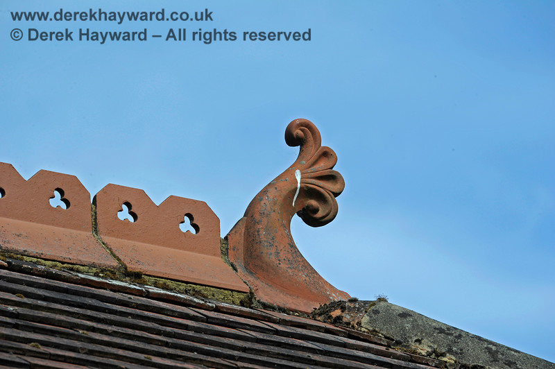 One of the ornate finials on the roof of Barcombe Station. 20.06.2020 17975  Please note that this is private property.  Images taken by arrangement, and with the permission of the owners.
