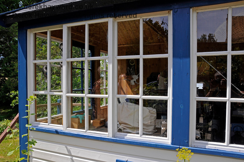 The new signal box at Barcombe Station. The carpenter has provided sliding windows similar to those which would have been found on many signal boxes. 20.06.2020 20436  Please note that this is private property.  Images taken by arrangement, and with the permission of the owners.