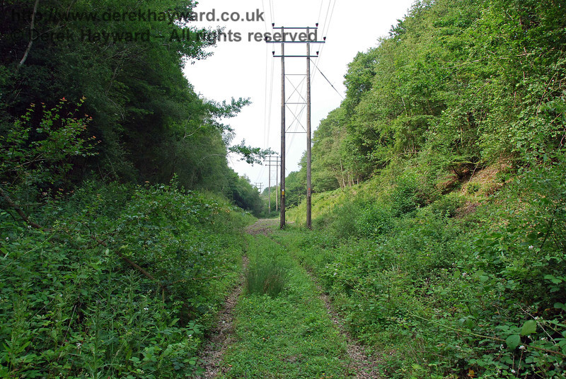 Looking north, this is the cutting through Brickyard Wood.  Beyond the second power pole another three arch bridge used to span the railway, but it has been totally demolished and the area of the spans filled in to form a solid road blocking the cutting.