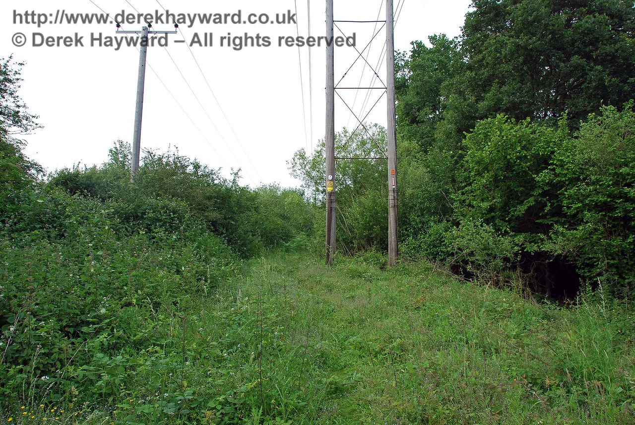 The path leads north under two sets of power lines, but after a few hundred yards becomes barely passable with heavy undergrowth and deep muddy pools of water.  This view looks north, from a position north of the bridge.