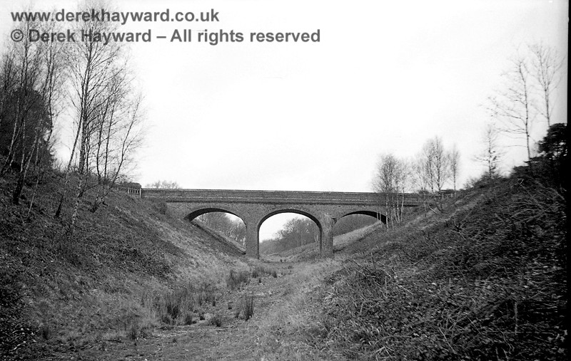 Brickyard Farm (or Oldpark Wood) accommodation bridge captured on 12 April 1965 in a lovely image taken by John Attfield.  John retains all rights to these images but has kindly allowed me to use them on my site.  This was the second (and more northerly) of the two accommodation bridges at Brickyard Farm, but sadly has been totally demolished.  The same fate befell the three arch bridge at Newick & Chailey.  This may be the only image of the northern Brickyard Farm accommodation bridge.  Searches have failed to find another.  If you have any pictures please contact me.