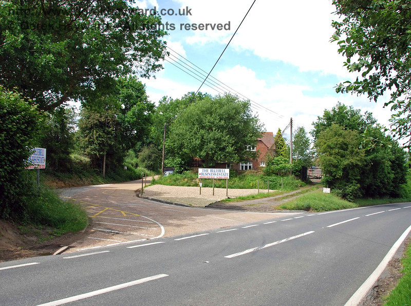 Emerging into the road, this view looks north past the entrance to the Bluebell Business Estate (to the west of Sheffield Park Station)