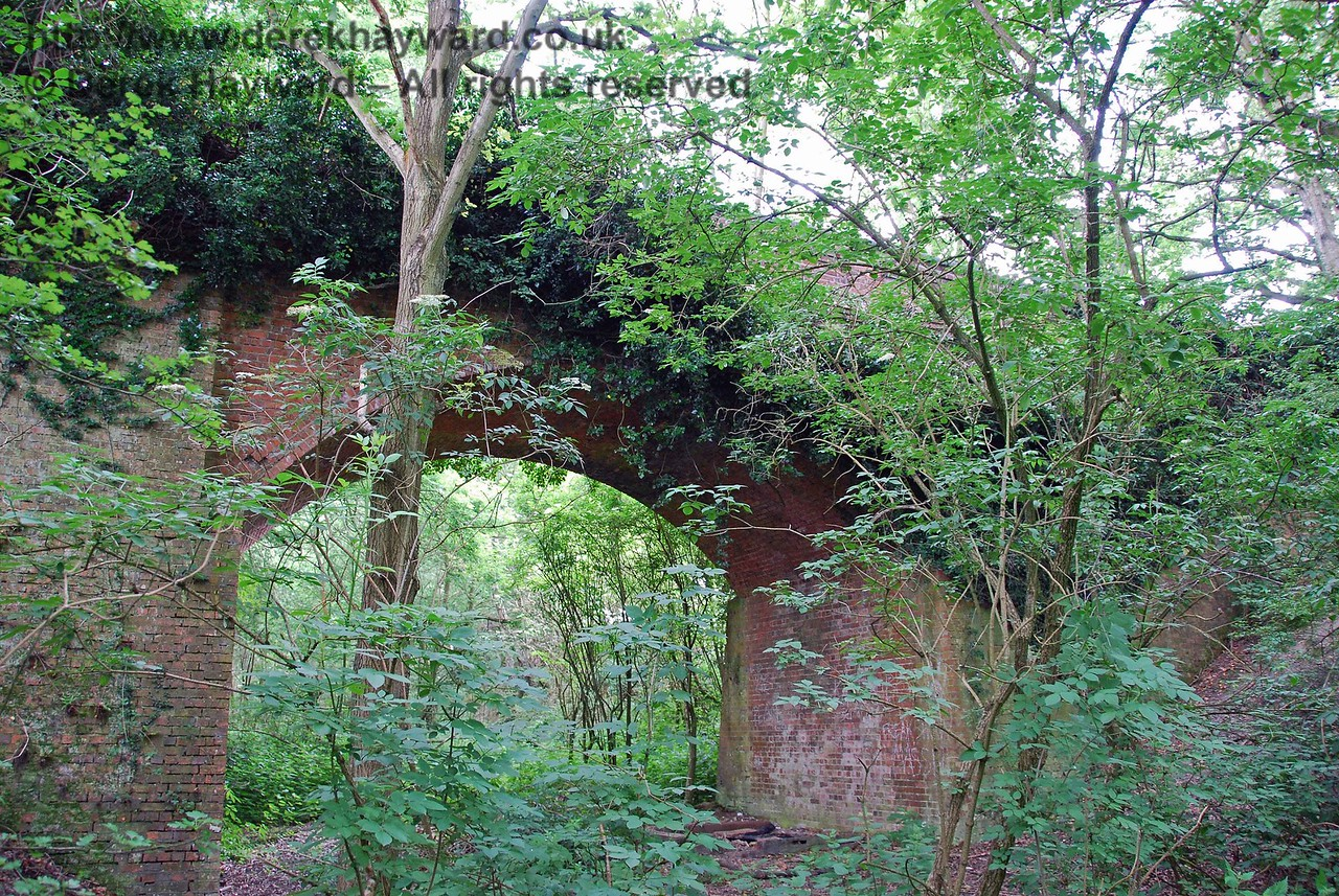 This closeup of the bridge looks south.  Under the bridge is a conspicuous piece of chalk, and visitors mark the left hand wall with their name and date (presumably as a reward for being stupid enough to get through the brambles).