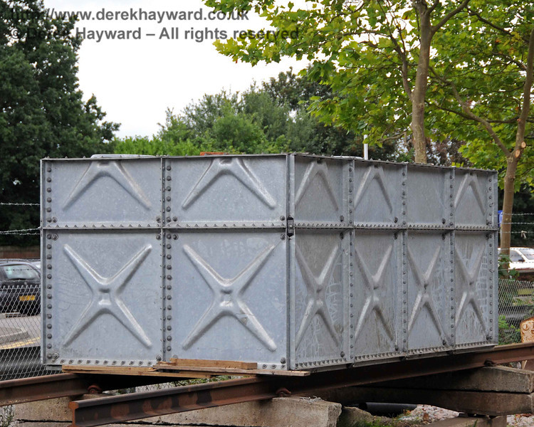 The large water tank, awaiting installation after the construction of the water tower. East Grinstead 22.08.2010  4260