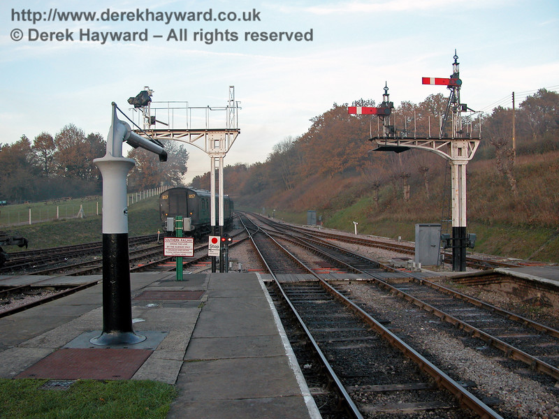 On 19.11.2005 signalling arrangements at the north end of Horsted Keynes were being developed, and this view catches the installation of new signals at the end of Platform 1/2.