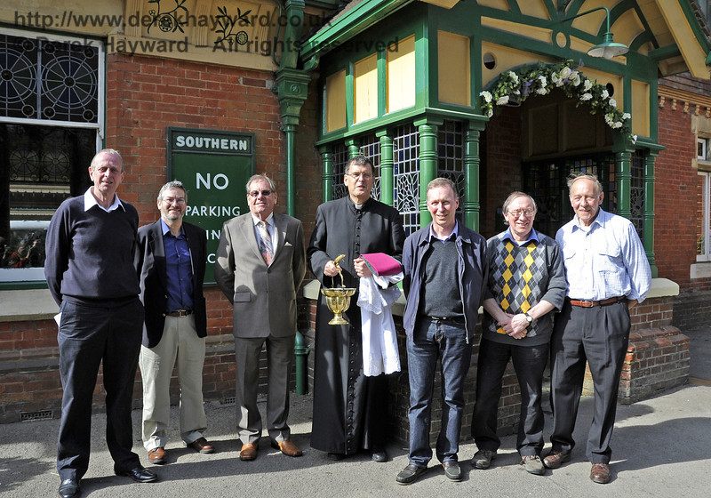 Distinguished guests, involved in the restoration. (Left to right)  Ian Fribbens, Tom Bradbury, Barry Morgan, Father John Twistleton (officiating), Andrew Baker, Roy Wright and John Copeland.  Horsted Keynes 25.03.2012  4083