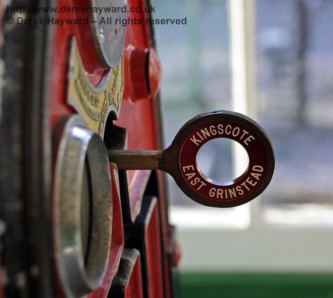 An East Grinstead token in the machine in Kingscote signal box.  17.02.2013  6203