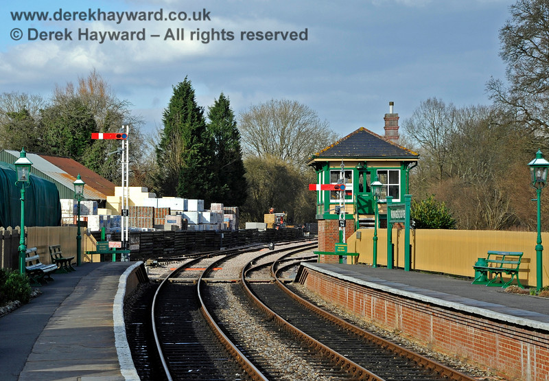 The Starting signals at the north end of Kingscote Station. 17.02.2013 6171