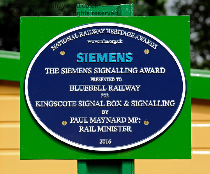 The self-explanatory plaque marking the presentation of The Siemens Signalling Award for Kingscote Signal Box and Signalling in 2016.  11.06.2017 15581