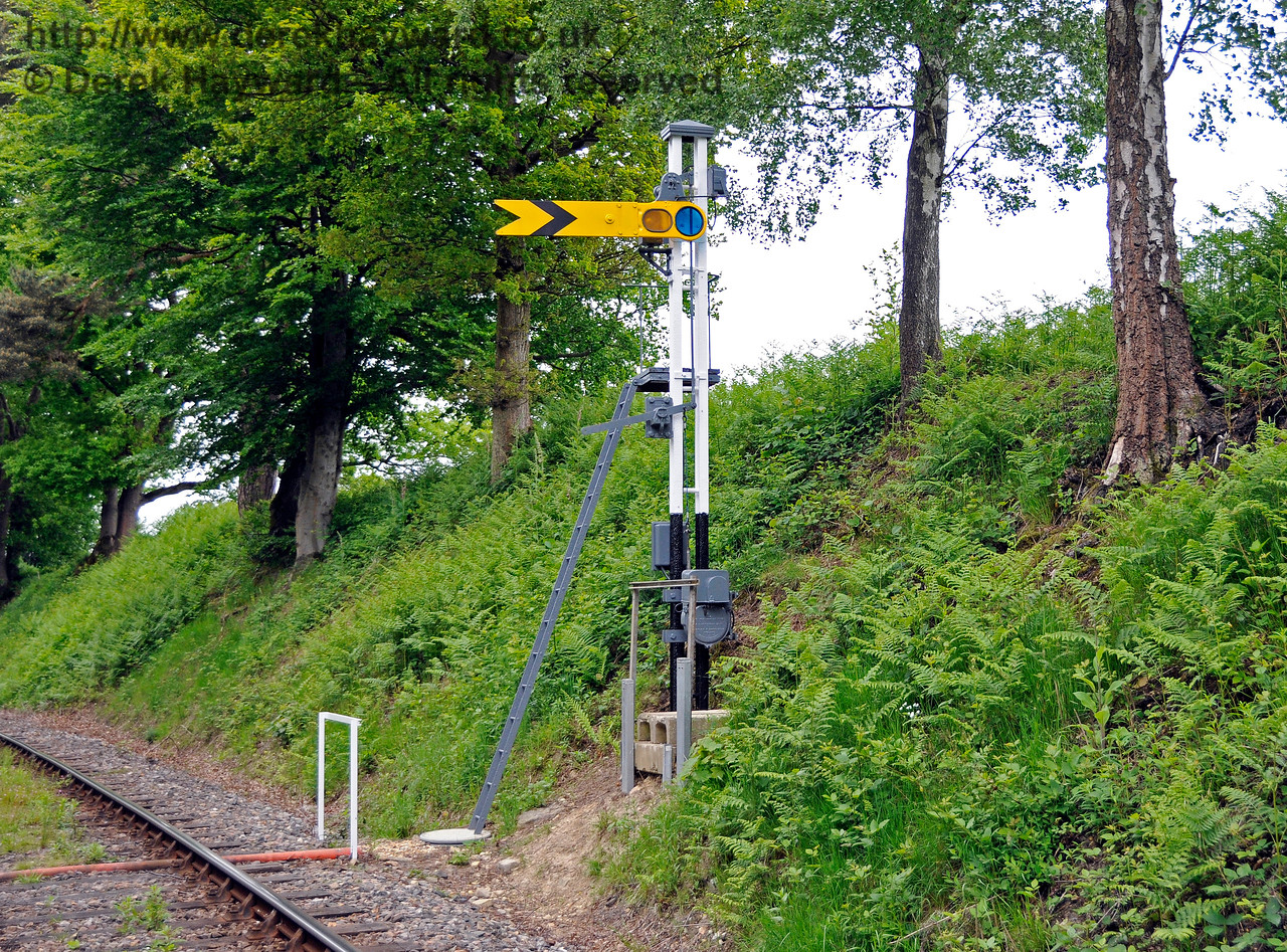 "The Kingscote Up Distant in the ""On"" position.  This signal was previously a fixed Distant.   09.06.2013 8918"