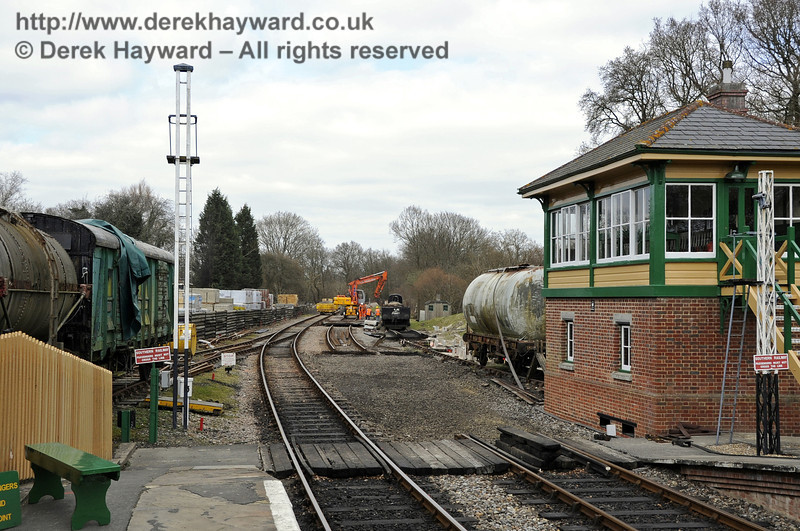Work has started to realign the track and install new points at the north end of Kingscote Station.  This work is part of improvements to the infrastructure required before the extension to East Grinstead opens.  20.03.2012 3847
