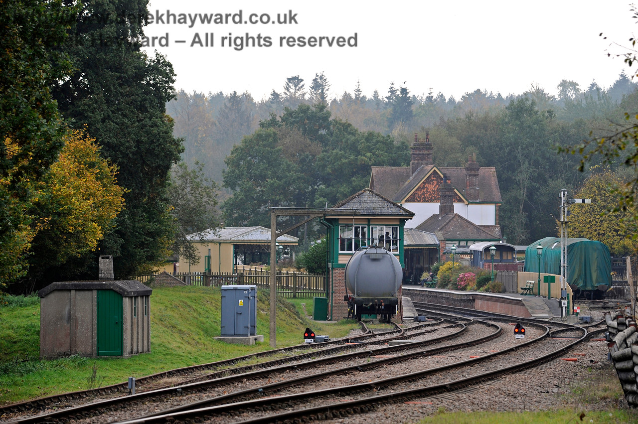 Looking south to Kingscote station on a rather drab October day.  New LED signals can be seen.  Wherever possible contemporary signals are used within station limits.  These two LED signals face away from the station and cannot readily be seen by visitors.  30.10.2016 14535