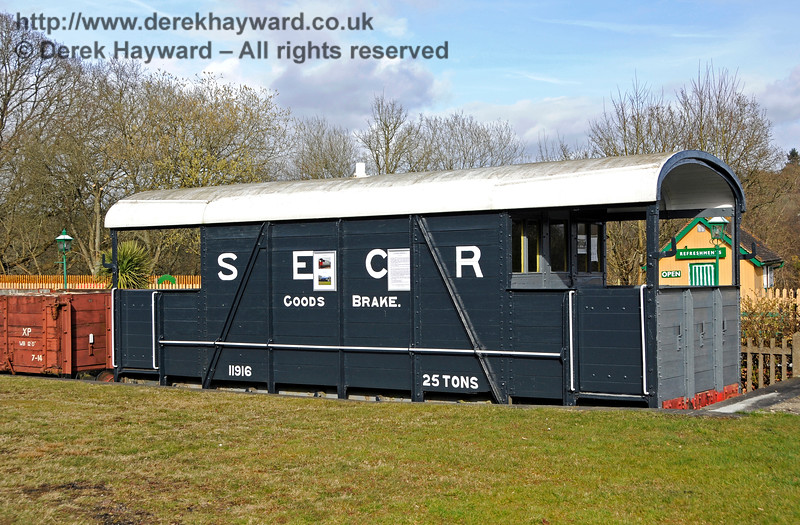 The goods brake van in 2018, freshly painted and sign written by the Friends of Kingscote.  23.03.2018 18137