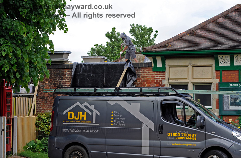In 2017 it was unfortunately necessary to replace the roof of the Gents following the theft of lead.  Although the material was recovered following an arrest, it was too badly damaged to be re-used.  The current roof has no monetary value.  27.05.2017 15467