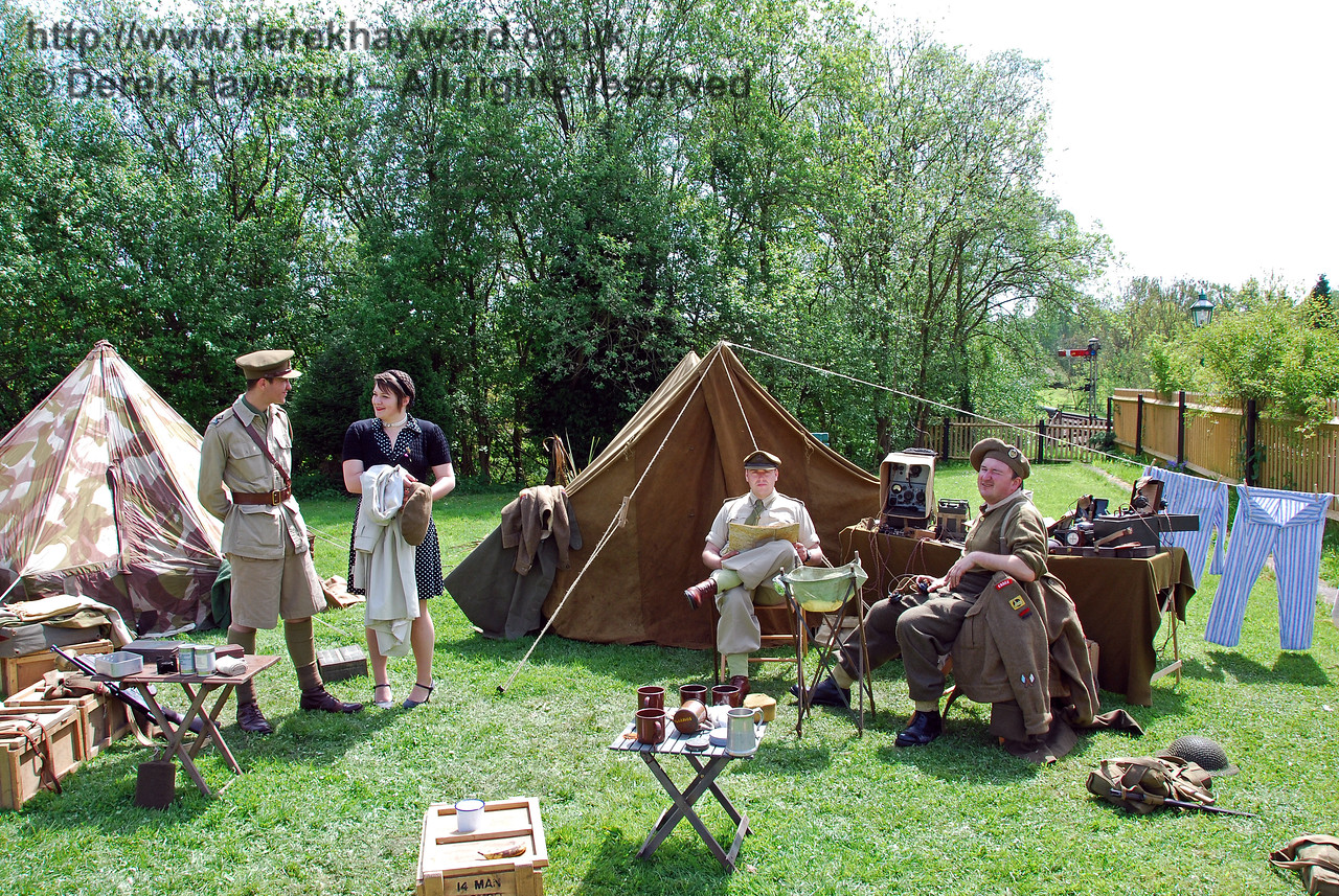 Part of the Picnic Area behind Platform 2 at Kingscote, in use for a display during a Southern at War event.  10.05.2009