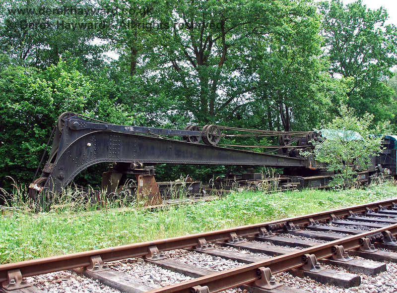 Now at the northern end of the station, the Ransomes and Rapier steam crane was stored at the northern end of the eastern siding before it was moved to Horsted Keynes for cosmetic restoration. 28.06.2009.